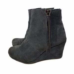 Toms Grey Suede Leather Wedge Booties Size 7